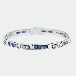 Jewelry - Round Diamond Princess Cut Sapphire Tennis Bracele